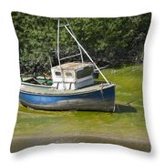 Boat On Banks Of Dee Throw Pillow