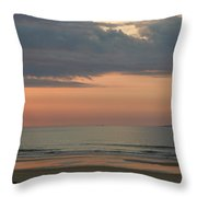 Boat On Horizon In Maine Throw Pillow