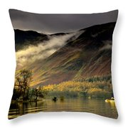 Boat On Lake Derwent, Cumbria, England Throw Pillow by John Short