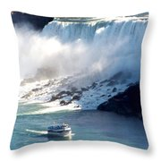 Boat On Niagara Falls Throw Pillow