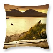 Boat On The Shore At Sunset, Island Of Throw Pillow