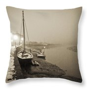 Boat On Wintry Quay Throw Pillow