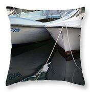 Boat Reflections In Hvar Throw Pillow