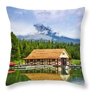 Boathouse On Mountain Lake Throw Pillow