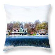 Boathouse Row From Fairmount Dam Throw Pillow