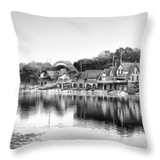 Boathouse Row In Black And White Throw Pillow