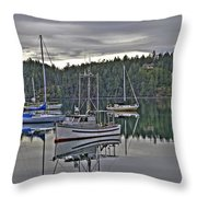 Boating Reflections Throw Pillow