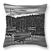 Boating Reflections Mono Throw Pillow