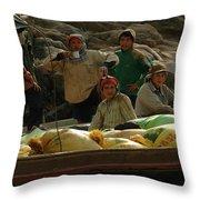 Boatmen In Laos Throw Pillow