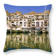 Boats And Houses On Waterfront Throw Pillow