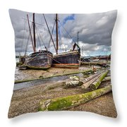 Boats And Logs At Pin Mill Throw Pillow