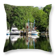 Boats Are In Throw Pillow