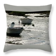 boats at low tide in Cape Cod Throw Pillow