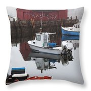 Boats At Rockport Harbor Throw Pillow