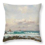 Boats At Sea Throw Pillow