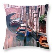 Boats Bridge And Reflections In A Venice Canal Throw Pillow