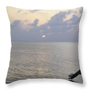 Boats Coming To A Rest For The Day At Sunset In The Lakshadweep Islands Throw Pillow