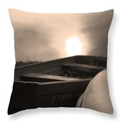 Boats Down By The Pond Throw Pillow