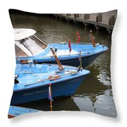 Boats In Amsterdam. Holland Throw Pillow