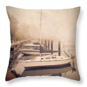 Boats In Foggy Harbor Throw Pillow