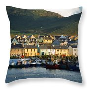 Boats In Harbor By Waterfront Village Throw Pillow