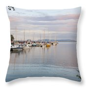 Boats In The Harbour At Sunset Thunder Throw Pillow
