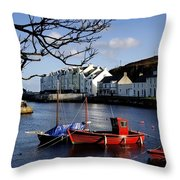 Boats Moored At A Riverbank With Throw Pillow