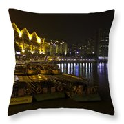 Boats Moored To The Side At Clarke Quay In Singapore Throw Pillow