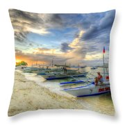 Boats Of Panglao Island Throw Pillow