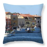 boats of Sant Antioco Throw Pillow