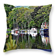 Boats On A River Throw Pillow