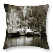 Boats On Halong Bay 1 Throw Pillow