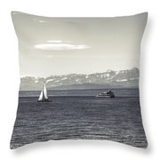 boats on Lake Constance Throw Pillow