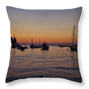 Boats On The Adriatic Sea Throw Pillow