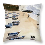 Boats On The Beach Throw Pillow by Lucy Willis