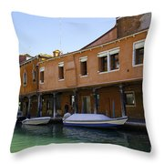 Boats On The Canal - Venice Throw Pillow