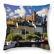 Boats On Waterfront Throw Pillow
