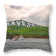 Boats Under Bridge Throw Pillow
