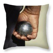 Bocce Bowler Holding A Ball Throw Pillow