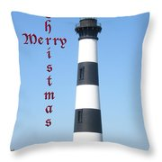 Bodie Lighthouse - Outer Banks - Christmas Card Throw Pillow