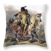 Bodmer: Blackfoot Horseman Throw Pillow