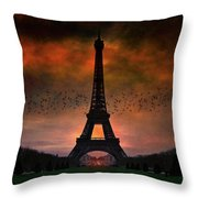 Bonsoir Paris Throw Pillow