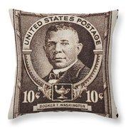 Booker T Washington Postage Stamp Throw Pillow
