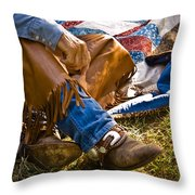 Boots And Quilt On The Trail Throw Pillow