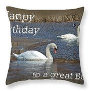 Boss Birthday Card - Mute Swans On Winter Pond Throw Pillow