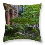 Boston Beacon Hill Street Scenery Throw Pillow