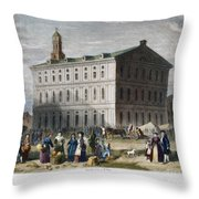 Boston: Faneuil Hall, 1776 Throw Pillow