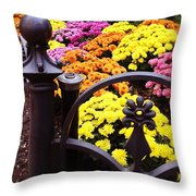 Boston Flowers Throw Pillow