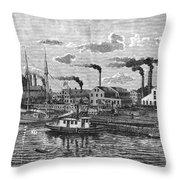 Boston: Iron Foundry, 1876 Throw Pillow