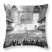 Boston: Music Hall, 1856 Throw Pillow